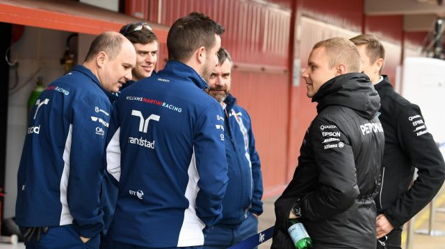 Valtteri Bottas (FIN) Mercedes AMG F1 talks with the Williams mechanics at Formula One Testing, Day Four, Barcelona, Spain, 2 March 2017. &copy&#x3b; Sutton Images