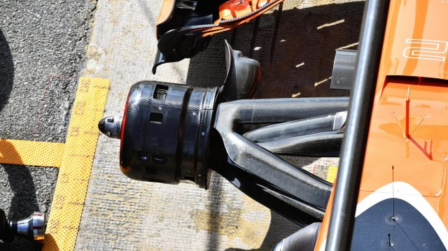 McLaren MCL32 front suspension and wheel hub detail at Formula One Testing, Day Four, Barcelona, Spain, 2 March 2017. &copy&#x3b; Sutton Images