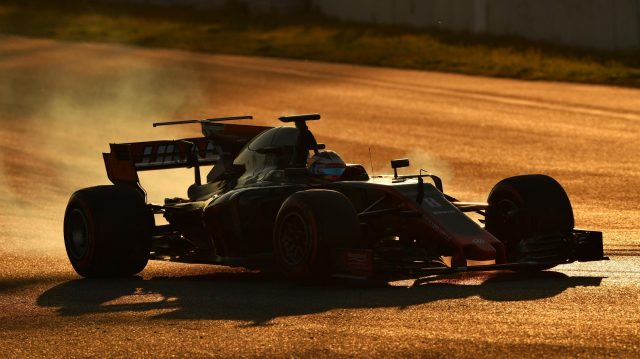 Romain Grosjean (FRA) Haas VF-17 locks up at Formula One Testing, Day Four, Barcelona, Spain, 2 March 2017. &copy&#x3b; Sutton Images