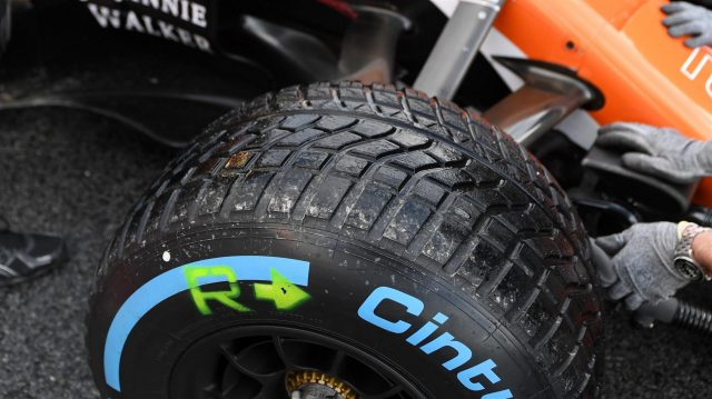 Pirelli wet weather tyre at Formula One Testing, Day Four, Barcelona, Spain, 2 March 2017. &copy&#x3b; Sutton Images