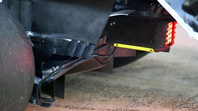 Mercedes-Benz F1 W08 Hybrid rear diffuser detail at Formula One Testing, Day One, Barcelona, Spain, 7 March 2017. &copy&#x3b; Sutton Images