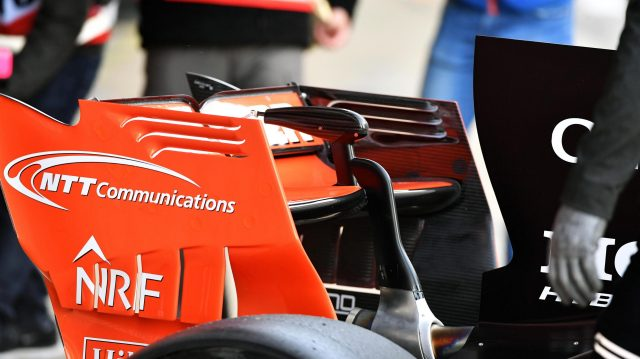 McLaren MCL32 rear wing detail at Formula One Testing, Day One, Barcelona, Spain, 7 March 2017. &copy&#x3b; Sutton Images