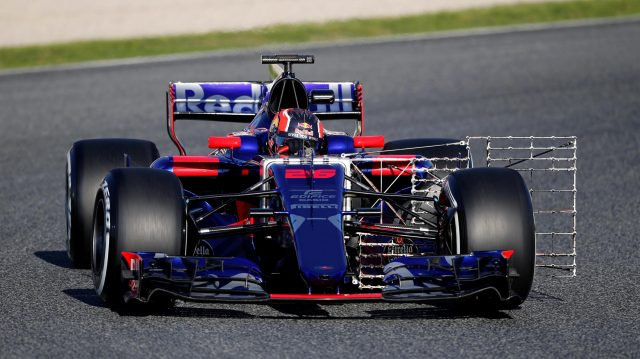 Daniil Kvyat (RUS) Scuderia Toro Rosso STR12 with aero sensor at Formula One Testing, Day One, Barcelona, Spain, 7 March 2017. &copy&#x3b; Sutton Images