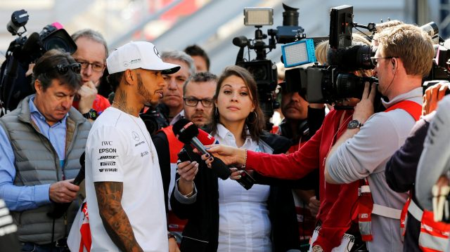 Lewis Hamilton (GBR) Mercedes AMG F1 talks to the media at Formula One Testing, Day One, Barcelona, Spain, 7 March 2017. &copy&#x3b; Sutton Images