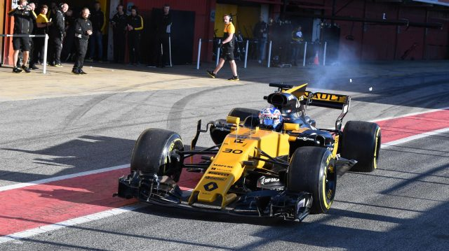 Jolyon Palmer (GBR) Renault Sport F1 Team RS17 and smoke at Formula One Testing, Day One, Barcelona, Spain, 7 March 2017. &copy&#x3b; Sutton Images