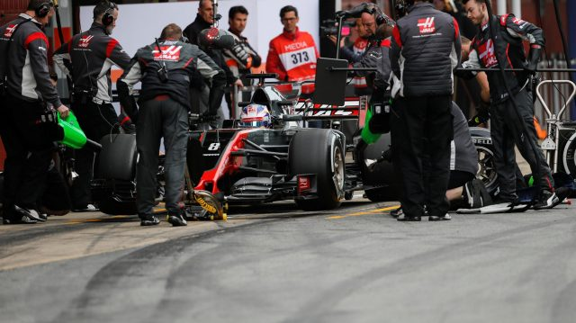 Romain Grosjean (FRA) Haas VF-17 makes a practice pit stop at Formula One Testing, Day Two, Barcelona, Spain, 8 March 2017. &copy&#x3b; Sutton Images
