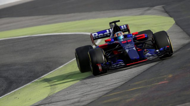 Carlos Sainz jr (ESP) Scuderia Toro Rosso STR12 runs wide at Formula One Testing, Day Two, Barcelona, Spain, 8 March 2017. &copy&#x3b; Sutton Images