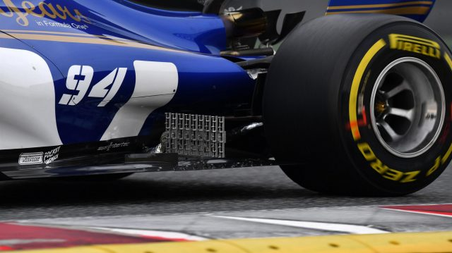 Aero sensor on the rear floor of the Sauber C36 at Formula One Testing, Day Two, Barcelona, Spain, 8 March 2017. &copy&#x3b; Sutton Images