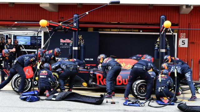 Max Verstappen (NED) Red Bull Racing RB13 pit stop at Formula One Testing, Day Two, Barcelona, Spain, 8 March 2017. &copy&#x3b; Sutton Images