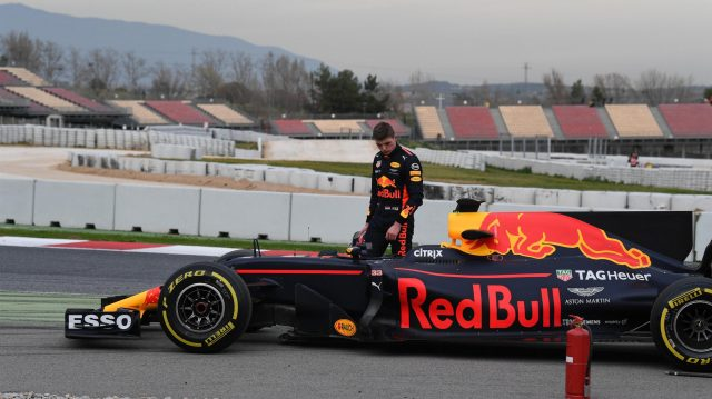Max Verstappen (NED) Red Bull Racing RB13 stops on track at Formula One Testing, Day Two, Barcelona, Spain, 8 March 2017. &copy&#x3b; Sutton Images