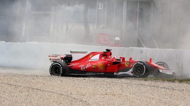 Kimi Raikkonen (FIN) Ferrari SF70-H crashes at Formula One Testing, Day Two, Barcelona, Spain, 8 March 2017. &copy&#x3b; Sutton Images