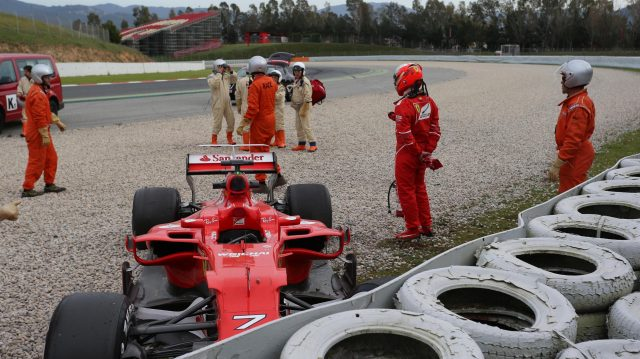 Kimi Raikkonen (FIN) Ferrari SF70-H crashed into the gravel at Formula One Testing, Day Two, Barcelona, Spain, 8 March 2017. &copy&#x3b; Sutton Images