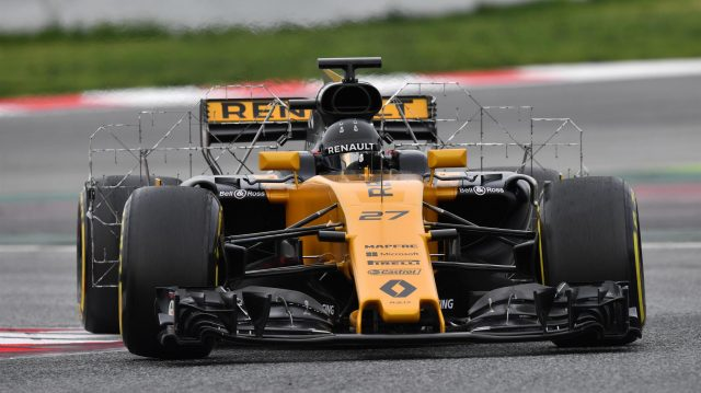Nico Hulkenberg (GER) Renault Sport F1 Team RS17 with aero sensors at Formula One Testing, Day Two, Barcelona, Spain, 8 March 2017. &copy&#x3b; Sutton Images
