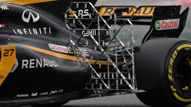 Nico Hulkenberg (GER) Renault Sport F1 Team RS17 with rear aero sensors at Formula One Testing, Day Two, Barcelona, Spain, 8 March 2017. &copy&#x3b; Sutton Images