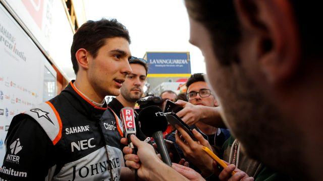 Esteban Ocon (FRA) Force India F1 talks with the media at Formula One Testing, Day Three, Barcelona, Spain, 9 March 2017. &copy&#x3b; Sutton Images