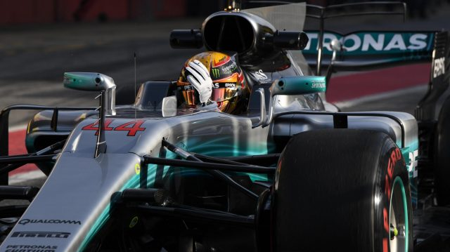 Lewis Hamilton (GBR) Mercedes-Benz F1 W08 Hybrid waves at Formula One Testing, Day Three, Barcelona, Spain, 9 March 2017. &copy&#x3b; Sutton Images