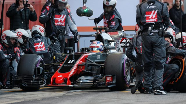 Romain Grosjean (FRA) Haas VF-17 pit stop at Formula One Testing, Day Four, Barcelona, Spain, 10 March 2017. &copy&#x3b; Sutton Images