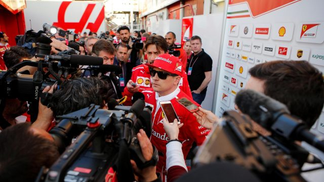 Kimi Raikkonen (FIN) Ferrari talks with the media at Formula One Testing, Day Four, Barcelona, Spain, 10 March 2017. &copy&#x3b; Sutton Images