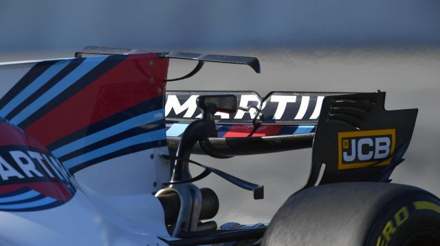 Williams FW40 rear wing detail at Formula One Testing, Day Four, Barcelona, Spain, 10 March 2017. &copy&#x3b; Sutton Images