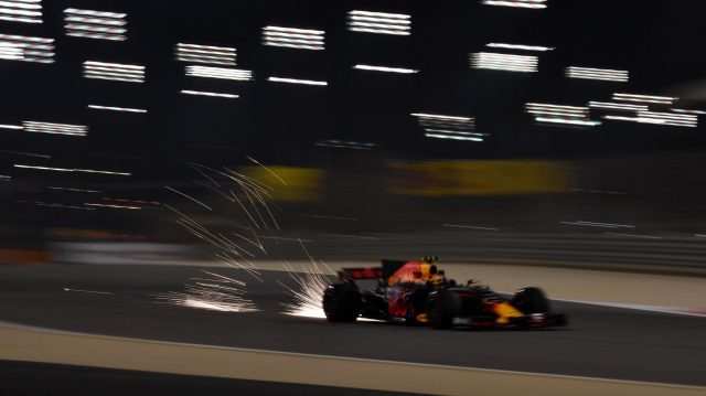 Max Verstappen (NED) Red Bull Racing RB13 sparks at Formula One World Championship, Rd3, Bahrain Grand Prix Practice, Bahrain International Circuit, Sakhir, Bahrain, Friday 14 April 2017. &copy&#x3b; Sutton Motorsport Images