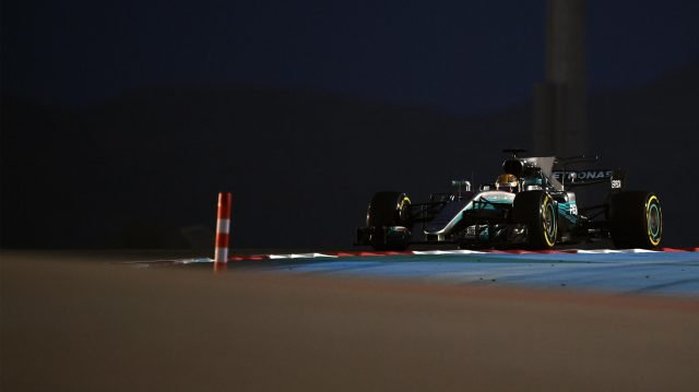 Lewis Hamilton (GBR) Mercedes-Benz F1 W08 Hybrid at Formula One World Championship, Rd3, Bahrain Grand Prix Practice, Bahrain International Circuit, Sakhir, Bahrain, Friday 14 April 2017. &copy&#x3b; Sutton Motorsport Images