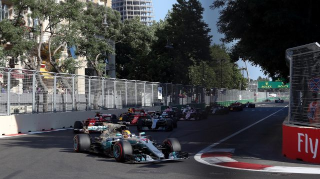 Lewis Hamilton (GBR) Mercedes-Benz F1 W08 Hybrid leads at the start of the race at Formula One World Championship, Rd8, Azerbaijan Grand Prix, Race, Baku City Circuit, Baku, Azerbaijan, Sunday 25 June 2017. © Sutton Images