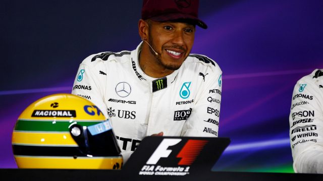 Pole sitter Lewis Hamilton (GBR) Mercedes AMG F1 with the helmet of Ayrton Senna in the Press Conference at Formula One World Championship, Rd7, Canadian Grand Prix, Qualifying, Montreal, Canada, Saturday 10 June 2017. © Sutton Motorsport Images