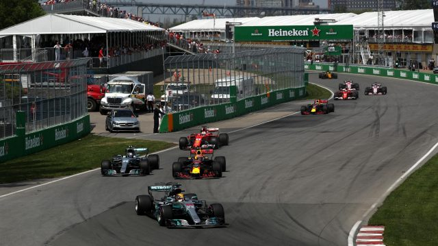 Lewis Hamilton (GBR) Mercedes-Benz F1 W08 Hybrid leads as Valtteri Bottas (FIN) Mercedes-Benz F1 W08 Hybrid and Max Verstappen (NED) Red Bull Racing RB13 battle for position at Formula One World Championship, Rd7, Canadian Grand Prix, Race, Montreal, Canada, Sunday 11 June 2017. © Sutton Images