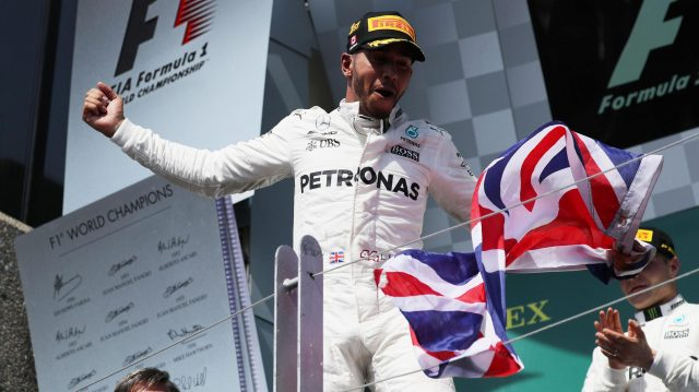 Race winner Lewis Hamilton (GBR) Mercedes AMG F1 celebrates on the podium at Formula One World Championship, Rd7, Canadian Grand Prix, Race, Montreal, Canada, Sunday 11 June 2017. © Sutton Images