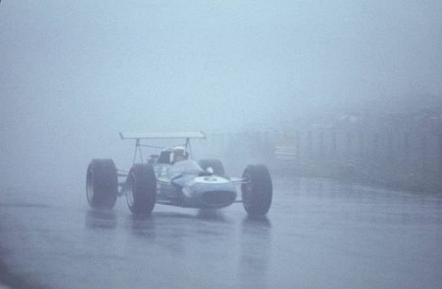 Jackie Stewart (GBR) in a Matra Cosworth MS10 picks his way through the rain and fog to win the race by over 4 minutes, one of the finest victories of his career. German Grand Prix, Rd8, Nurburgring, Germany, 4 August 1968. World © Phipps/Sutton.