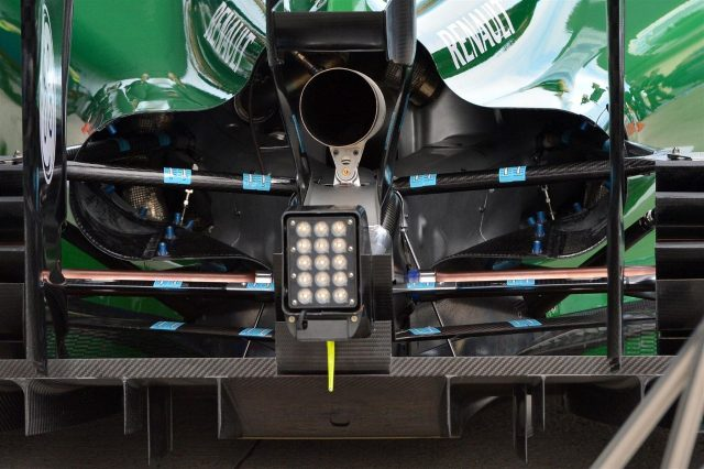 Marcus Ericsson (SWE) Caterham CT05 exhaust, rear wing and rear diffuser detail. Formula One Testing, Jerez, Spain, Day One, Tuesday, 28 January 2014. © Sutton Images