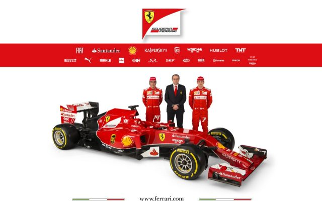 Fernando Alonso, Stefano Domenicali and Kimi Raikkonen with the Ferrari F14 T. © Ferrari