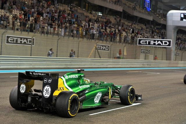 Charles Pic (FRA) Caterham CT03 practices starts. Formula One World Championship, Rd17, Abu Dhabi Grand Prix, Practice, Yas Marina Circuit, Abu Dhabi, UAE, Friday, 1 November 2013. © Sutton Images