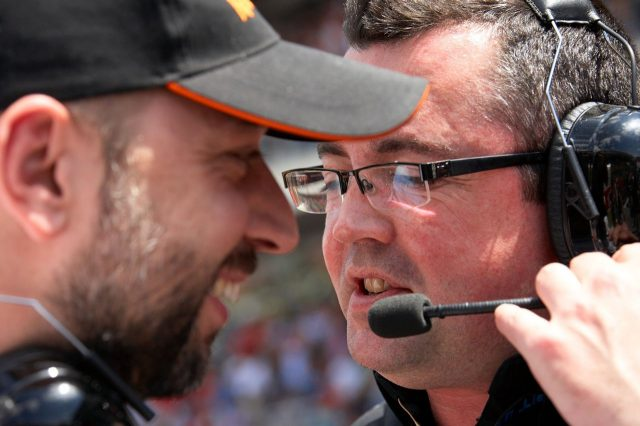 Eric Boullier (right) and Gerard Lopez of Lotus on the grid. © Sutton Image