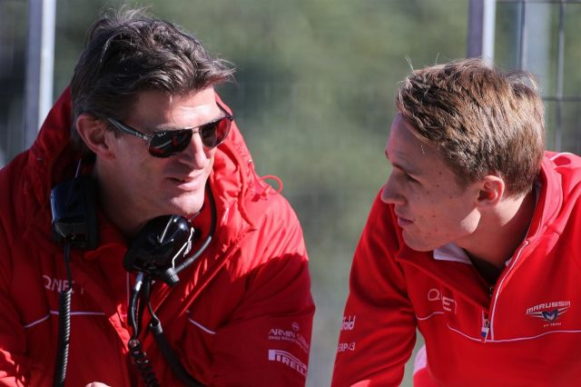L to R): Graeme Lowdon (GBR) Marussia F1 President and Sporting Director and Max Chilton (GBR) Marussia F1 Team. Formula One Testing, Jerez, Spain, Day Three, Thursday, 30 January 2014 © Sutton Images. No reproduction without permission