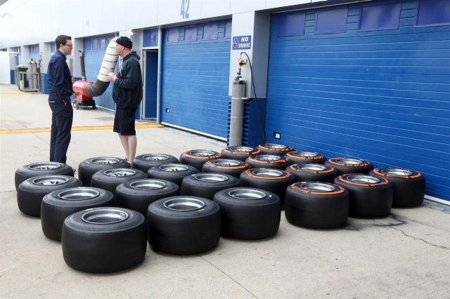 Pirelli tyres. Formula One Testing Preparations, Jerez, Spain, Monday, 27 January 2014. © Sutton Images