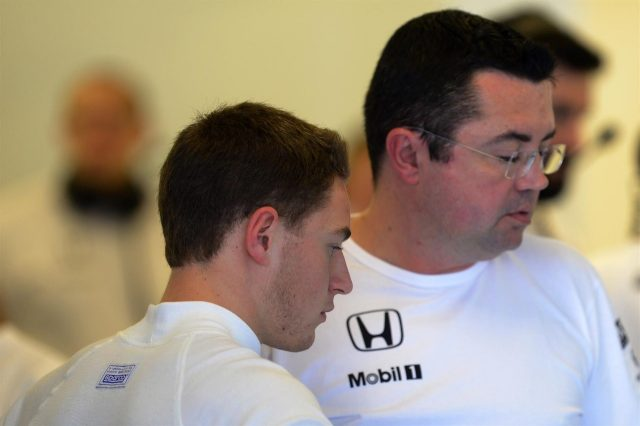 Stoffel Vandoorne (BEL) McLaren and Eric Boullier (FRA) McLaren Racing Director. Formula One Testing, Yas Marina Circuit, Abu Dhabi, UAE, Tuesday, 25 November 2014 © Sutton Images. No reproduction without permission