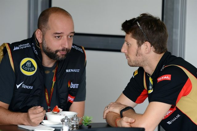 (L to R): Gerard Lopez (FRA) Genii Capital and Romain Grosjean (FRA) Lotus F1 Team. Formula One World Championship, Rd18, Brazilian Grand Prix, Qualifying, Sao Paulo, Brazil, Sunday, 9 November 2014