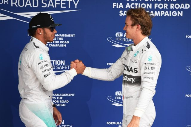 Lewis Hamilton (GBR) Mercedes AMG F1 and pole sitter Nico Rosberg (GER) Mercedes AMG F1 celebrate in parc ferme. Formula One World Championship, Rd18, Brazilian Grand Prix, Qualifying, Sao Paulo, Brazil, Saturday, 8 November 2014
