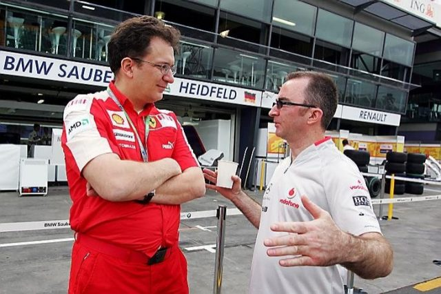 (L to R): Nicholas Tombazis, Ferrari Chief Designer talks with Paddy Lowe (GBR) McLaren Engineering Director. Formula One World Championship, Rd 1, Australian Grand Prix, Preparations, Albert Park, Melbourne, Australia, Thursday, 26 March 2009© Sutton Images