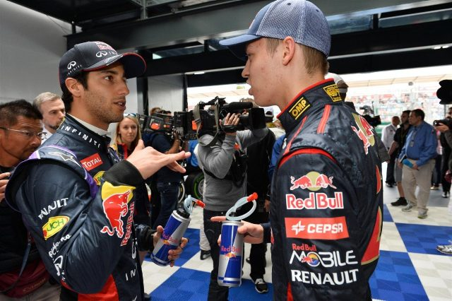 Daniel Ricciardo (AUS) Red Bull Racing and Daniil Kyvat (RUS) Scuderia Toro Rosso on the drivers parade. Formula One World Championship, Rd1, Australian Grand Prix, Race, Albert Park, Melbourne, Australia, Sunday, 16 March 2014. © Sutton Images
