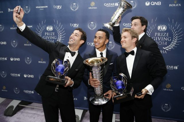 (L to R) Red Bull's Daniel Ricciardo, Mercedes' Lewis Hamilton, Nico Rosberg and Toto Wolff during the FIA Prize Giving 2014 on December 5th 2014, at Doha, Qatar. © Jean Michel Le Meur / DPPI