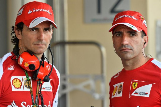 (L to R): Pedro De La Rosa (ESP) Ferrari Development Driver and Marc Gene (ESP) Ferrari Test Driver. Formula One World Championship, Rd17, Abu Dhabi Grand Prix, Practice, Yas Marina Circuit, Abu Dhabi, UAE, Friday, 1 November 2013 © Sutton Images. No reproduction without permission