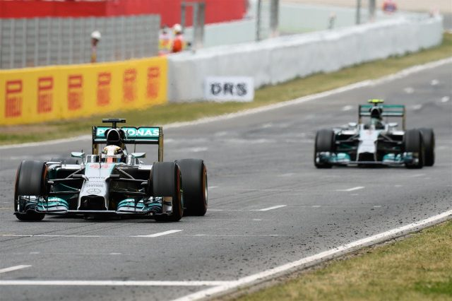 Lewis Hamilton (GBR) Mercedes AMG F1 W05 and Nico Rosberg (GER) Mercedes AMG F1 W05. Formula One World Championship, Rd5, Spanish Grand Prix, Race, Barcelona, Spain, Sunday, 11 May 2014. © Sutton Images