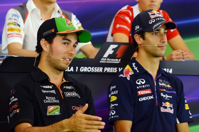 (L to R): Sergio Perez (MEX) Force India and Daniel Ricciardo (AUS) Red Bull Racing in the Press Conference. Formula One World Championship, Rd8, Austrian Grand Prix, Preparations, Spielberg, Austria, Thursday, 19 June 2014. © Sutton Images