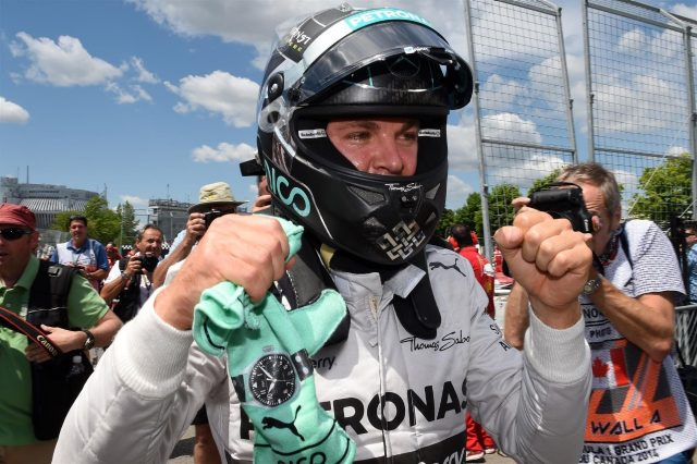 Pole sitter Nico Rosberg (GER) Mercedes AMG F1 celebrates in parc ferme. Formula One World Championship, Rd7, Canadian Grand Prix, Qualifying, Montreal, Canada, Saturday, 7 June 2014. © Sutton Images