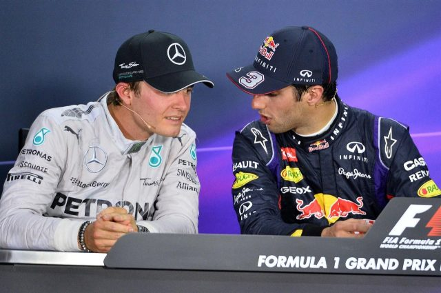 (L to R): Second placed Nico Rosberg (GER) Mercedes AMG F1 and race winner Daniel Ricciardo (AUS) Red Bull Racing in the post-race Press Conference. Formula One World Championship, Rd7, Canadian Grand Prix, Race Day, Montreal, Canada, Sunday, 8 June 2014. © Sutton Images