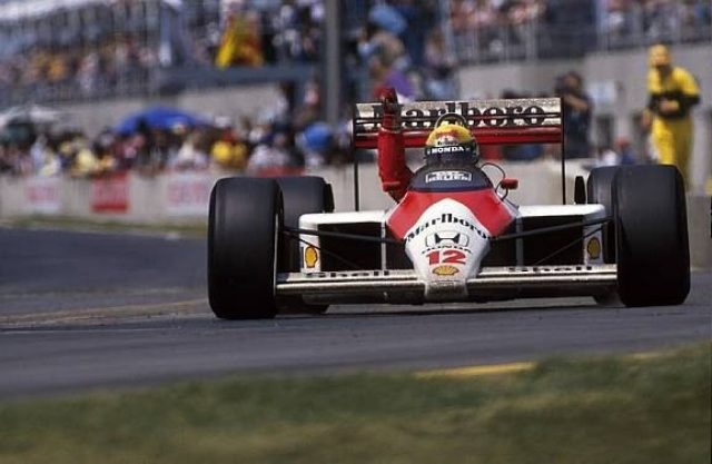 Winner Ayrton Senna (BRA) McLaren MP4/4 Canadian Grand Prix, Montreal, 12 June 1988. © Sutton Images