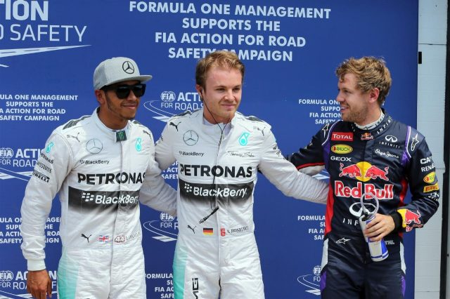 (L to R): Lewis Hamilton (GBR) Mercedes AMG F1, pole sitter Nico Rosberg (GER) Mercedes AMG F1 and Sebastian Vettel (GER) Red Bull Racing celebrate in parc ferme. Formula One World Championship, Rd7, Canadian Grand Prix, Qualifying, Montreal, Canada, Saturday, 7 June 2014. © Sutton Images