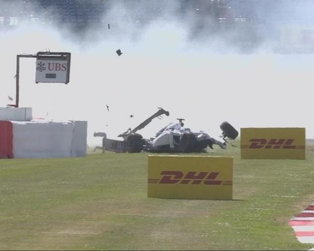 Williams' woes continue - minutes after Susie Wolff's stoppage, Felipe Massa gets a wheel on the astro turf at the exit of Stowe and spins hard into the tyre wall, bringing out the red flags. © FOWC Ltd